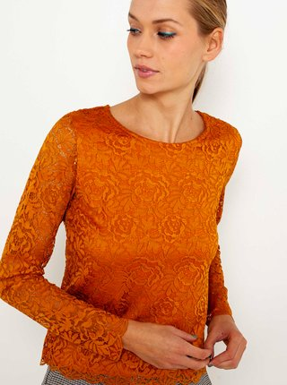 Oranžová krajkovaná halenka CAMAIEU