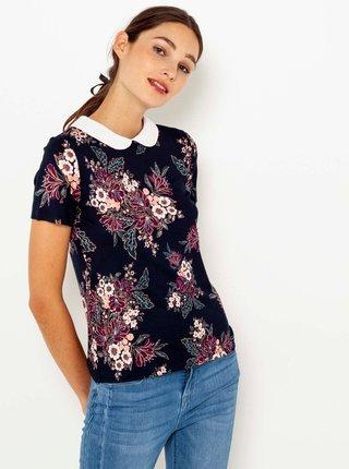 Černé květinové tričko s límečkem CAMAIEU