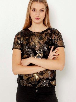 Černá květovaná průhledná halenka CAMAIEU