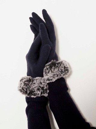 Tmavomodré vlnené rukavice s umelým kožúškom CAMAIEU