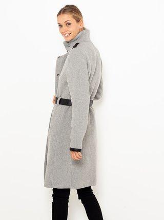 Světle šedý kabát s přísměsí vlny CAMAIEU