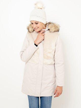 Krémová bunda s kapucí a umělým kožíškem CAMAIEU