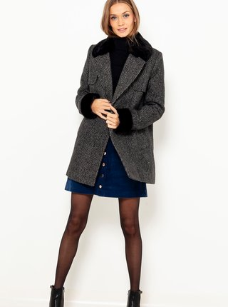 Šedý žíhaný kabát s umělým kožíškem CAMAIEU