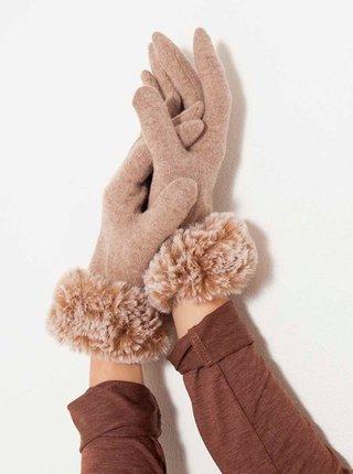 Béžové vlněné rukavice s umělým kožíškem CAMAIEU