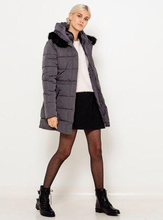 Šedá prošívaná bunda s kapucí a umělým kožíškem CAMAIEU