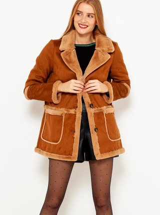 Hnědý semišový kabát s umělým kožíškem CAMAIEU