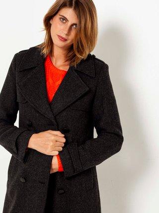 Tmavě šedý dlouhý kabát CAMAIEU