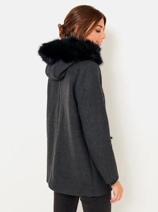 Tmavě šedá bunda s kapucí a umělým kožíškem CAMAIEU