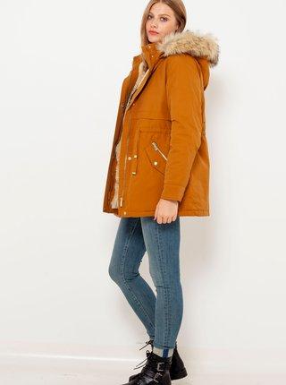 Hnedá bunda s kapucou a umelým kožúškom CAMAIEU