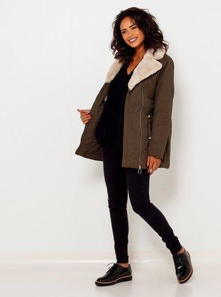 Khaki bunda s umělým kožíškem CAMAIEU