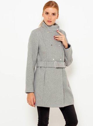 Světle šedý kabát se stojáčkem CAMAIEU