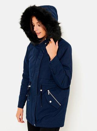 Tmavomodrá bunda s kapucou a umelým kožúškom CAMAIEU