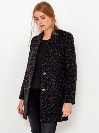 Černý kabát s levhartím vzorem CAMAIEU