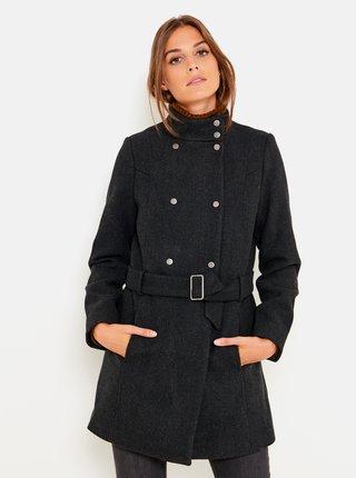 Tmavě šedý kabát se stojáčkem CAMAIEU
