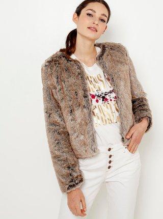 Béžový kabátek s umělým kožíškem CAMAIEU