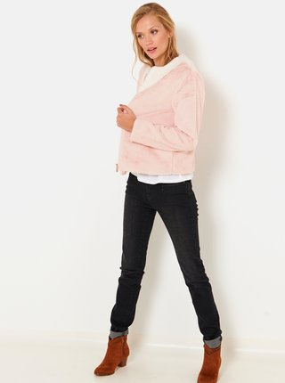Světle růžová bunda z umělého kožíšku CAMAIEU