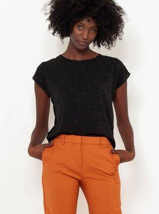 Černé vzorované tričko se zavazováním na zádech CAMAIEU