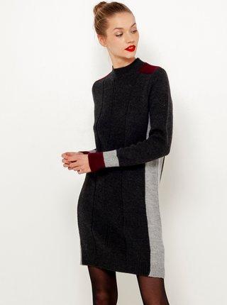 Tmavě šedé svetrové šaty CAMAIEU