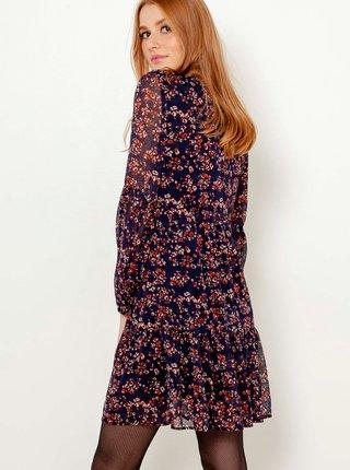 Tmavomodré kvetované šaty CAMAIEU