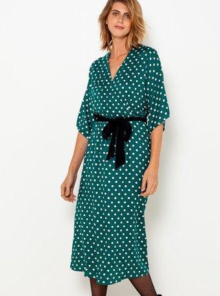 Tyrkysové puntíkované midi šaty se zavazováním CAMAIEU