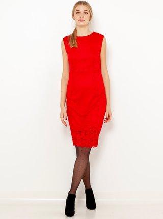 Červené krajkové pouzdrové šaty CAMAIEU