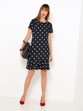 Černé puntíkované šaty s volány CAMAIEU