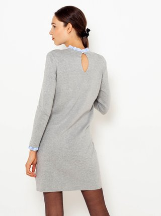 Svetlošedé svetrové šaty so stojačikom CAMAIEU