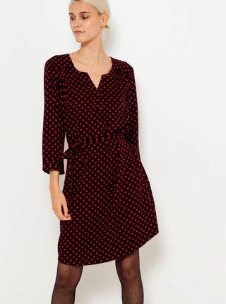 Červeno-černé puntíkované šaty CAMAIEU