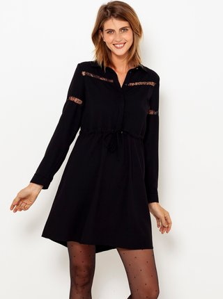 Černé šaty s krajkovými detaily CAMAIEU
