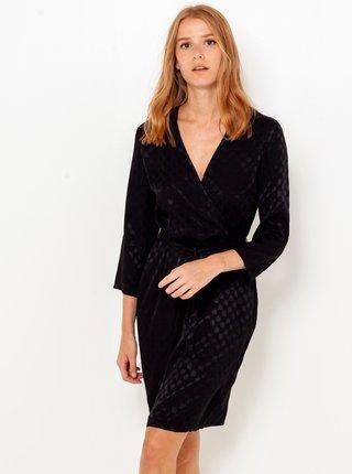 Černé kostkované šaty s tříčtvrtečním rukávem  CAMAIEU