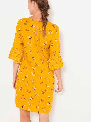 Žlté kvetované šaty s 3/4 rukávom CAMAIEU