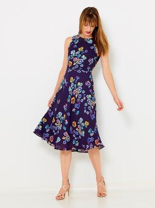 Tmavě fialové květované šaty CAMAIEU