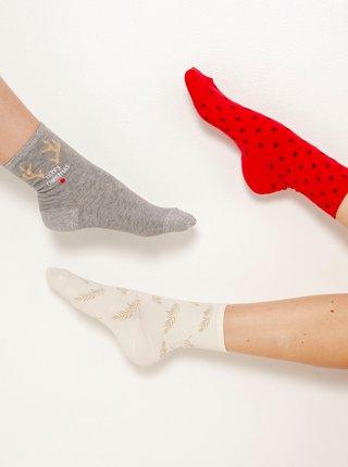Sada troch ponožiek v šedej, bielej a červenej farbe CAMAIEU
