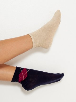Sada dvoch ponožiek v tmavomodrej a krémovej farbe CAMAIEU