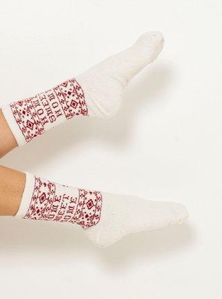 Biele ponožky s vianočným motívom CAMAIEU