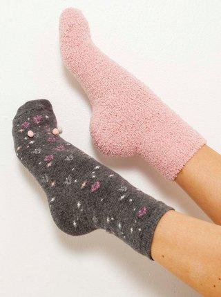 Sada dvoch ponožiek v šedej a ružovej farbe CAMAIEU