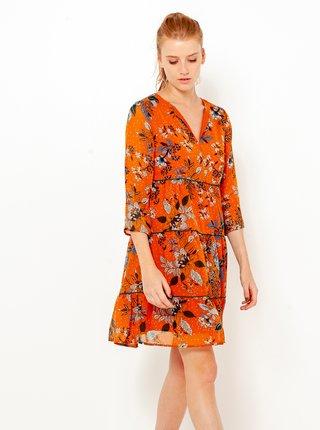 Oranžové květované šaty s tříčtvrtečním rukávem CAMAIEU