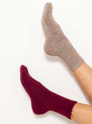 Sada dvoch ponožiek vo vínovej a staroružovej farbe CAMAIEU