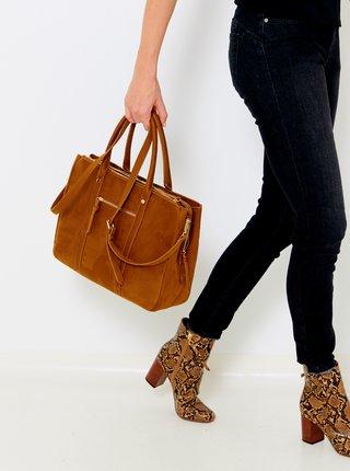 Hnedá kabelka v semišovej úprave CAMAIEU