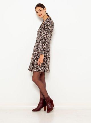 Hnědé šaty s leopardím vzorem CAMAIEU