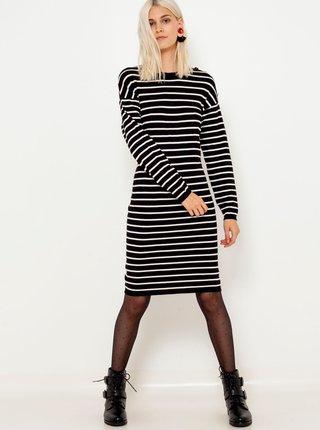 Bílo-černé pruhované svetrové šaty CAMAIEU