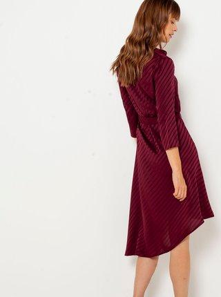 Vínové pruhované asymetrické šaty CAMAIEU