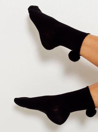 Černé ponožky s bambulí CAMAIEU