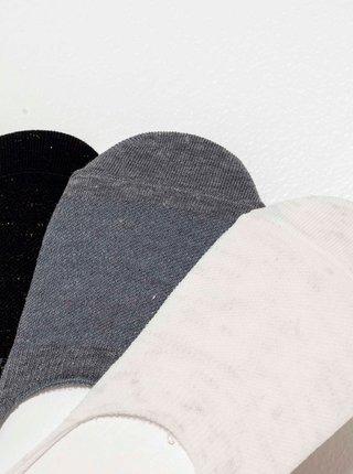 Sada troch ponožiek v čiernej, šedej a krémovej farbe CAMAIEU