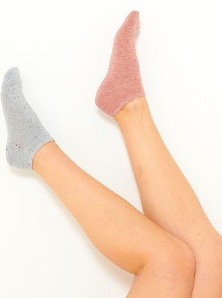 Sada dvou ponožek v růžové a světle šedé barvě CAMAIEU