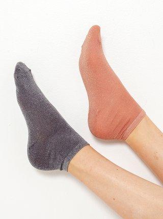 Sada dvou ponožek v meruňkové a šedé barvě CAMAIEU