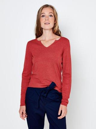 Tričká s dlhým rukávom pre ženy CAMAIEU - červená