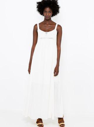 Bílé maxi šaty s ozdobným detailem CAMAIEU