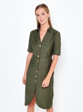 Tmavě zelené šaty CAMAIEU