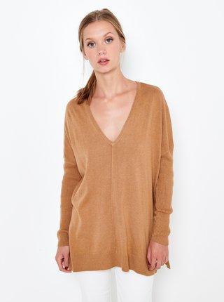 Hnědý volný svetr CAMAIEU